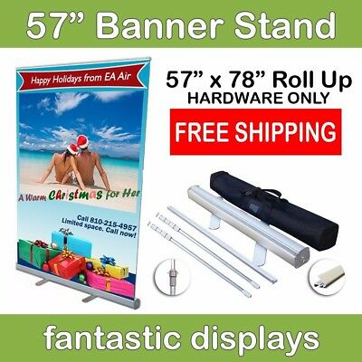 """57"""" Wide Retractable Banner Stand Trade Show Display Roll Up Exhibit Hardware"""