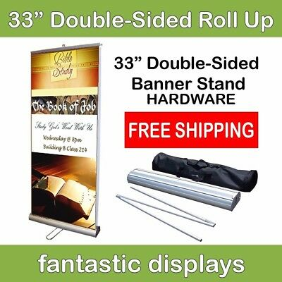 "Double-Sided 33"" Retractable Roll Up Banner Trade Show Stand Display Hardware"
