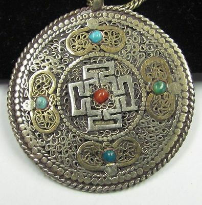 Vintage ARABIC pendant TURQUOISE & CORAL bead disc DOUBLE sided COPPER brass
