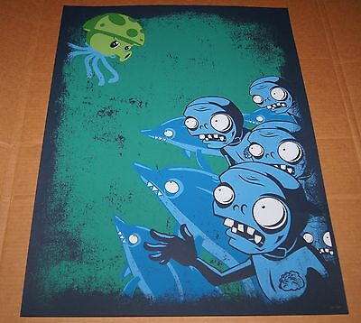 New! Plants vs Zombies | Dolphin Zombies Screen Print | Limited & Numbered / 300