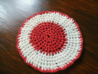 Collectible Handmade Crocheted  Pot Holder Red White 6  Inch NICE