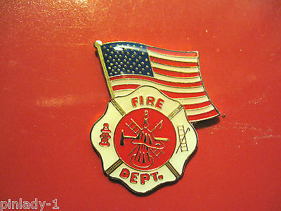 FIRE DEPARTMENT BADGE WITH FLAG  - hat pin, lapel pin, tie tac, hatpin