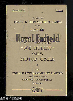 1959 - 60  ROYAL ENFIELD MODEL 500cc BULLET OHV MOTORCYCLE  PARTS MANUAL