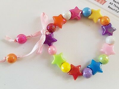 Childrens Bracelet.GIRLS.Rainbow Star & Ball Plastic Beads party bag/,Stocking