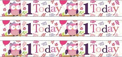 Age 1/ 1St Birthday Girl Pink Foil Banners (Se)