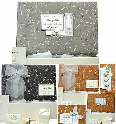 Wedding Keepsake Memory Box - Black/Grey/Brown, PERSONALISED 4 Motifs +/- Extras