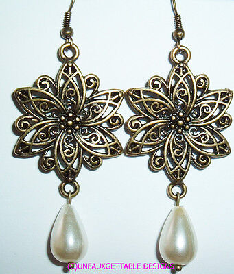 Medieval Dark Gold Filigree Flower Drop Earrings  Larp Ren Re-Enactor Costume