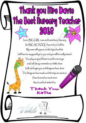 Personalised Gift for Nursery Teacher u moving on to School laminated Thank You