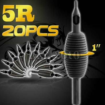 "1""/25mm5RT Pro 20PCS Disposable Sterile Tattoo Grip Tube Tips Silicone Round Tip"