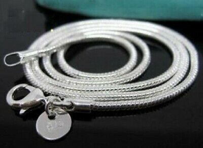 Wholesale 5pc Solid Silver Jewelry Snake Bone Chain Men Women Necklace 2MM CY010