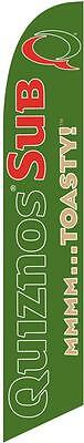 Green Quiznos Sub 12ft Feather Banner Swooper Flag - FLAG ONLY