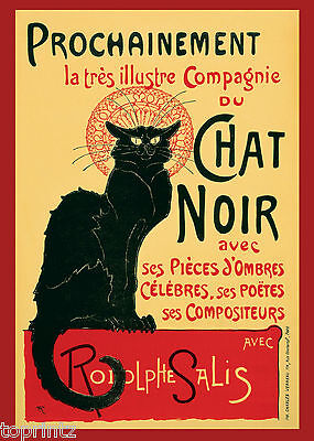 chat noir black Cat vintage print poster retro french art deco