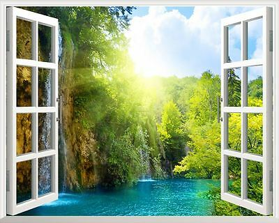 Waterfall 3D Window View Removable Wall Art Stickers Vinyl Decal Home Decor