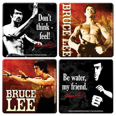Bruce Lee Photos and Quotes 4 Piece Coaster Set, NEW SEALED