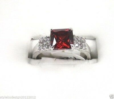 R#2126 simulated Red Garnet & White Topaz gemstones ladies silver ring size 9.5