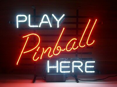 New Play Pinball Here Real Glass Neon Light Sign Beer Bar Game Room Sign L88