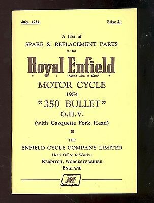 1954 ROYAL ENFIELD MODEL 350cc BULLET O.H.V. MOTOR CYCLE  PARTS MANUAL