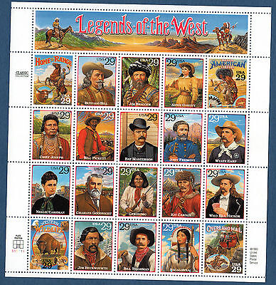 SCOTT # 2869 Legends of the West Issue United States U.S. Stamps MNH Sheet of 20