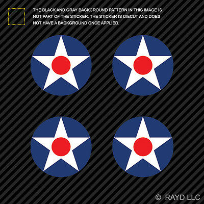 """(4x) 1.5"""" USAAC Roundel Sticker Die Cut Decal United Sttes Army Air Corp"""