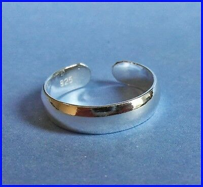 Sterling Silver (925) Adjustable Band Toe Ring 4 mm !!     Brand New !!