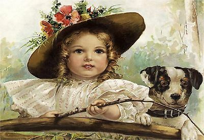 VICTORIAN Girl & JACK RUSSELL Dog FISHING Vintage CANVAS Art PRINT ~ LARGE Size
