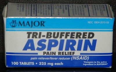 Major Tri Buffered Aspirin 325mg (Compare to Bufferin) 100ct - EXP. Date 02/2019