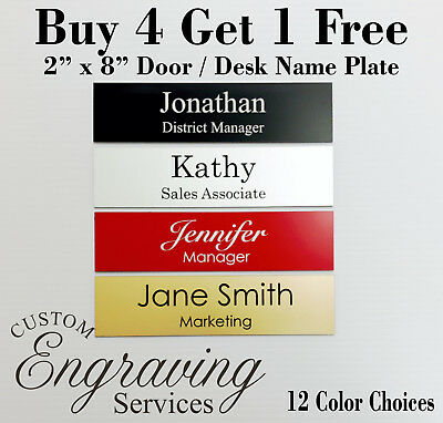 2 x 8 NAME PLATE for DESK or DOOR SIGN PLAQUE OFFICE CUSTOM CRAFT ORGANIZATION