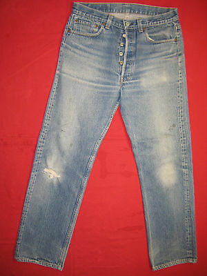 D6039 frayed holes levi's 501 blue jeans 35x34 used destructed made in the USA