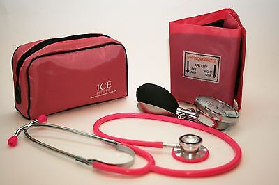 Pink Aneroid Blood Pressure Monitor - Sphygmomanometer & Pink Stethoscope