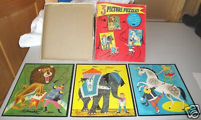 Vintage 1958 Whitman 3 Picture Board Puzzles Circus Box
