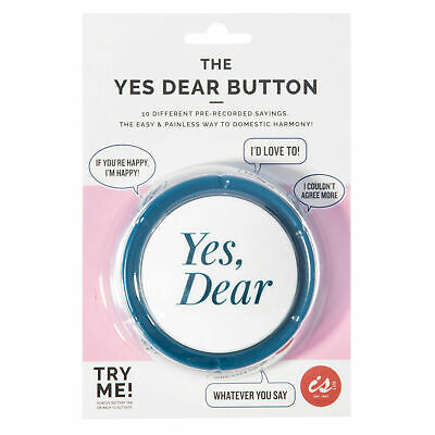 THE YES DEAR BUTTON - Domestic Harmony Novelty Noise Happy Home Button 9cm *NEW*