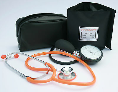 Black Aneroid Blood Pressure Monitor - Sphygmomanometer & Orange Stethoscope