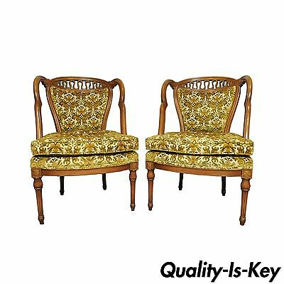 Vtg Pair Hollywood Regency French Louis XVI Style Wing Back Carved Lounge Chairs