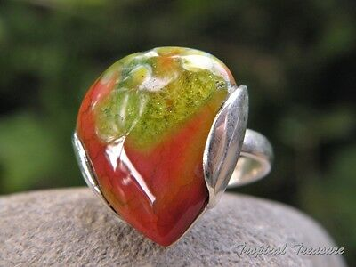 Green & Red Agate & 925 SOLID Silver RING (Size 5 1/2, K 1/2)   #161946