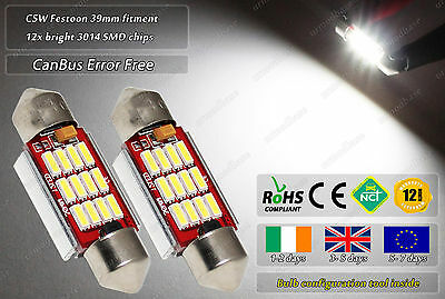 2x 39mm C5W LED CanBus No Error Free Xenon White Number Licence Plate Bulbs 12v