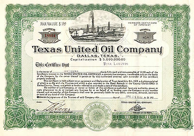 Texas United Oil Company, Dallas, Texas Vintage Stock Certificates Not Cancelled