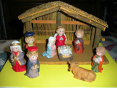 Children's Nativity - 9 Piece Hand-Painted Resin Set with Nice Wooden Manger