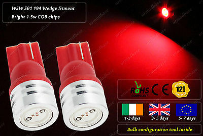 2x LED T10 W5W 501 Red Wedge Side Lights Parking Bulbs Stop Rear Lamps Dome