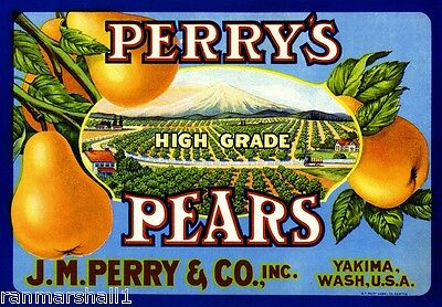 Yakima Washington State Perry's Pears Pear Fruit Crate Label Art Print