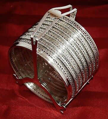 Webster Sterling Silver & Glass Set of 8 Coasters and Caddy Stand