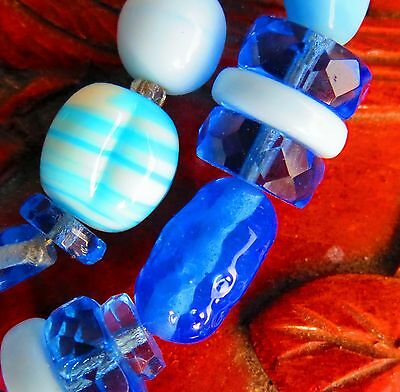 Poured Gripoix glass Czech pressed faceted blue crystals mix strand crafts  rt