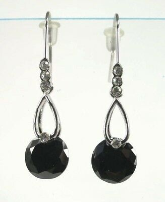 E+0690, 10x10 mm Round cut Black Onyx drop dangle style Ladies Earrings silver