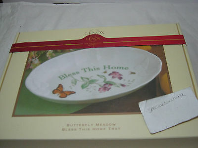 Nwe LENOX Butterfly Meadow BLESS THIS HOME TRAY  - Butterfly/Floral NIB