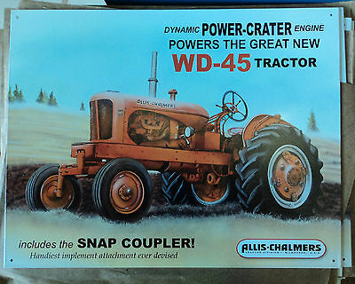 """ALLIS CHALMERS WD-45 TRACTOR 12"""" x 18"""" Metal Display Sign - Great for Collectors"""
