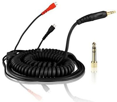 Replacement Coiled DeLuxe Cable for Sennheiser HD25 - HD-25 Headphones - Black