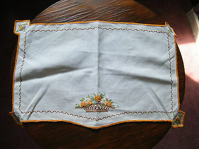 Beautiful  Embroidered Table Linen Doily Placemat Orange Crochet Trim Floral WOW