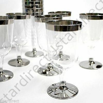 5.5oz  60 120 180 240 300 SILVER Rimmed Plastic Wine Champagne flutes Glass cup
