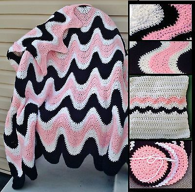 3 Color Exaggerated Ripple Afghan Throw Crochet Pattern 835