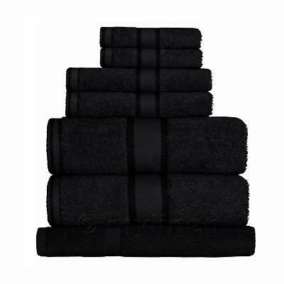 Black 100% Cotton Towel Range Sets or Pcs Bath Sheet Towel Hand Face Washer Mat