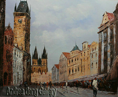 Original Prague Oil painting Wall art Deco On Canvas knife Hand Painted AB010